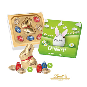 Kleiner Ostergruß von Lindt - Osterhasen mit Logo - Werbeartikel Ostern | Artikel-Nr. CD-94521