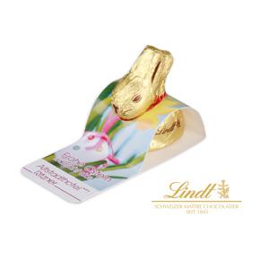 Werbe-Aufsteller mit Goldhase von Lindt - Osterhasen mit Logo - Werbeartikel Ostern | Artikel-Nr. CD-94561