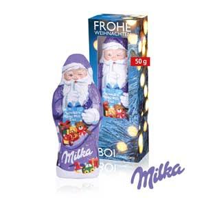 Milka Weihnachtsmann mit Logo - Schokoladen-Weihnachtsmänner - Werbeartikel Weihnachten | Artikel-Nr. CD-95492