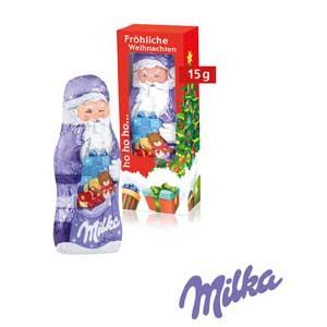 Milka Weihnachtsmann mit Logo - Schokoladen-Weihnachtsmänner - Werbeartikel Weihnachten   Artikel-Nr. CD-95499