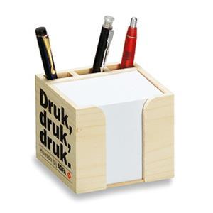 Holz-Zettelbox mit Köcher als Werbeartikel | Artikel-Nr. CW-8330