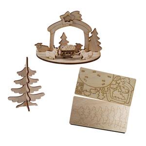 3D Holzpuzzle-Karte bedrucken - Weihnachts-Ideen mit Logo - Werbegeschenke Weihnachten | Artikel-Nr. EF-1023
