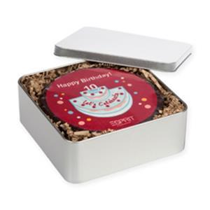 M-Torte rund in Metallbox bedrucken - Torten mit Logo - Werbeartikel | Artikel-Nr. FB-3102
