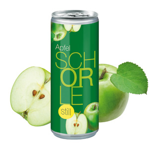 Apfelschorle still 250 ml bedrucken - Getränkedosen mit Logo - Werbeartikel Getränke | Artikel-Nr. TL-1122