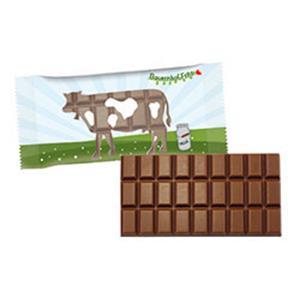 Schokoladentafel Flowpack 100g - Schokoladentafeln bedrucken - Werbeartikel Schokolade | Artikel-Nr. SR-3143
