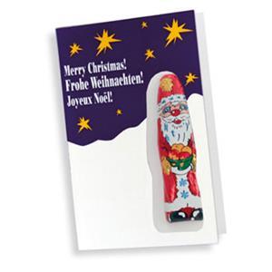 Faltkarte Standard Weihnachten mit Logo - Schokoladen-Weihnachtsmänner - Werbeartikel Weihnachten | Artikel-Nr. SR-3147