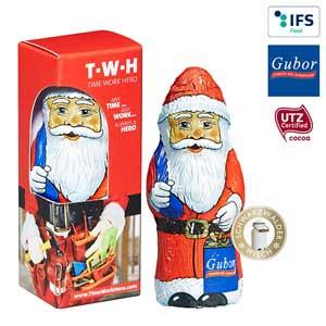 Gubor Weihnachtsmann mit Logo - Schokoladen-Weihnachtsmänner - Werbeartikel Weihnachten | Artikel-Nr. PA-110108655