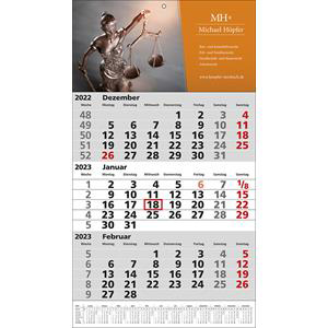 3-Monatskalender STANDARD 1 PLUS drucken | Artikel-Nr. WK-5103
