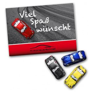 Grußkarte Mit Schokoauto Als Werbeartikel Bedrucken Adicor