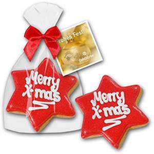 Cookie Weihnachtsstern mit Logo | Artikel-Nr. ZM-1207